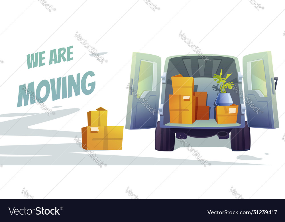 Furniture delivery banner with truck and boxes