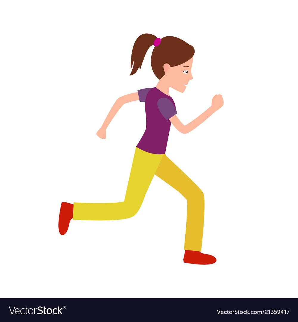 Girl jogging teenager in sport apparel