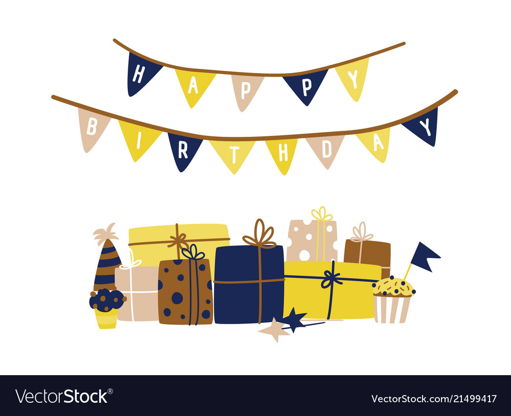 Greeting card template with happy birthday wish Vector Image