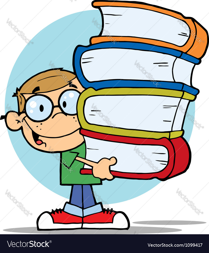 Happy Smart School Boy Carrying A Stack Of Books