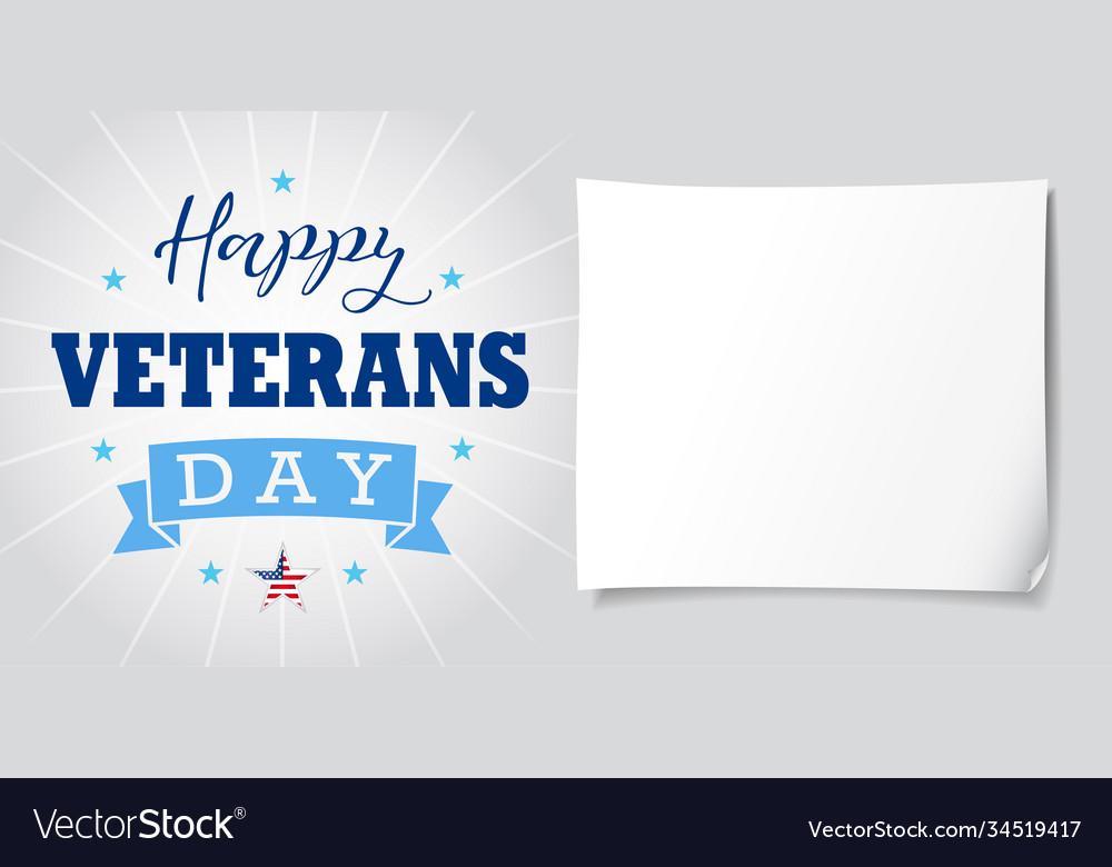 Happy veterans day usa lettering banner light