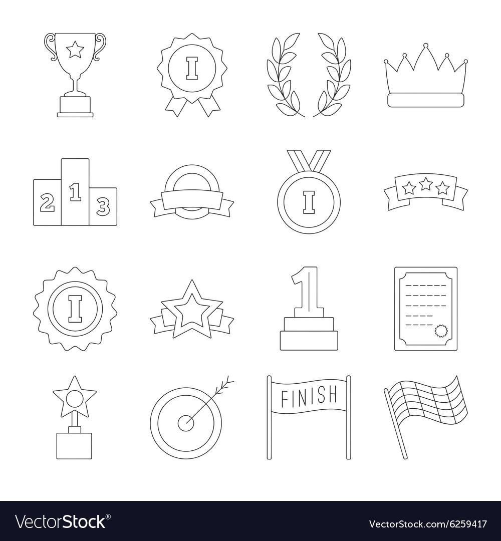 Line victory icon set vector image