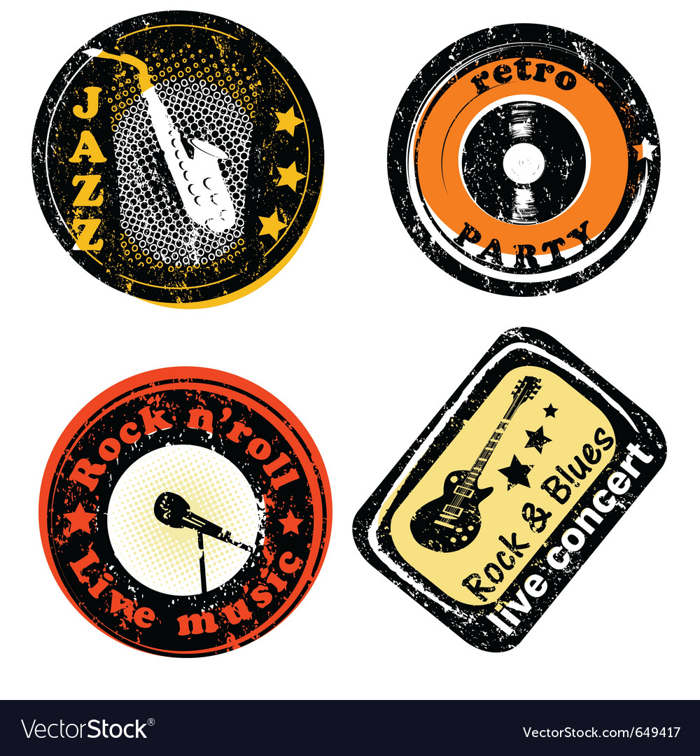 Retro stamps for music vector image