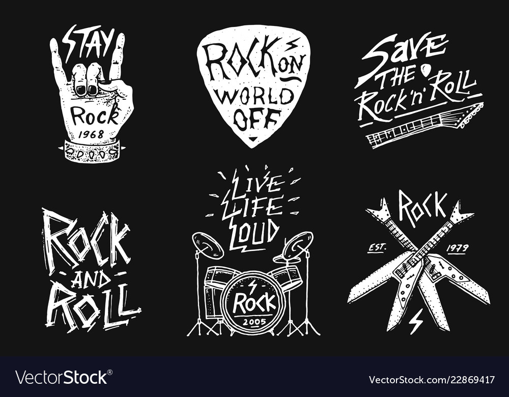 1651e2823 Set of rock and roll music symbols with drums Vector Image