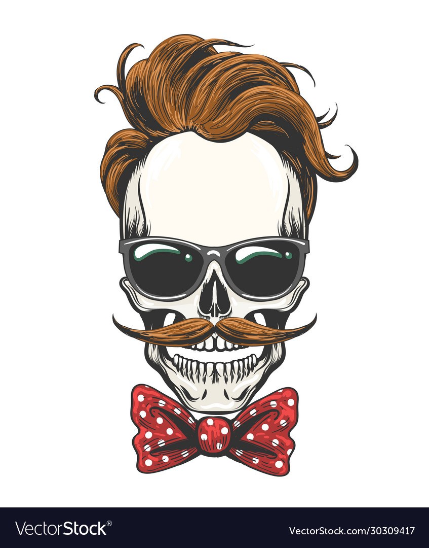 Skull in glasses with mustache and bow tie