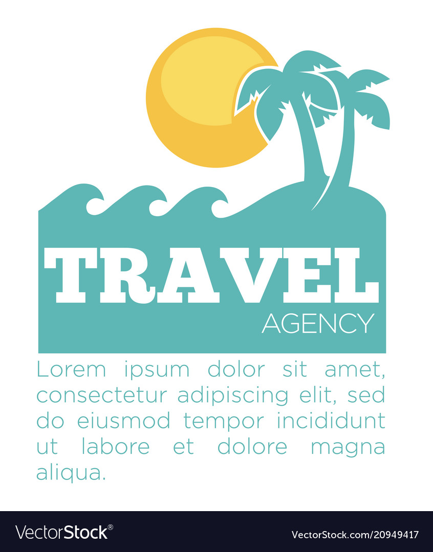 Travel agency promo banner with palms and sea