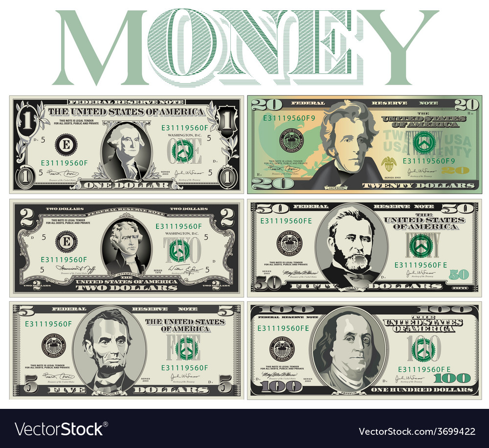 6 Stylized drawings of Bills vector image