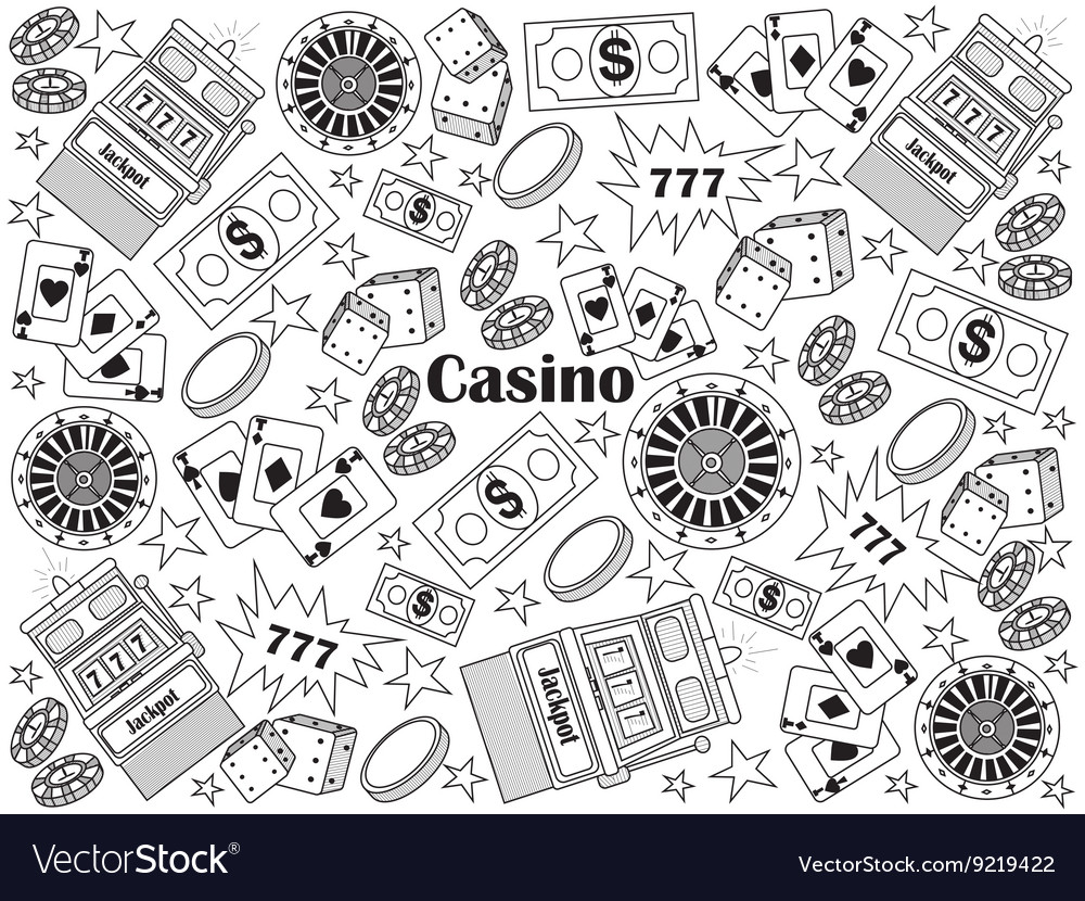 Casino colorless set vector image
