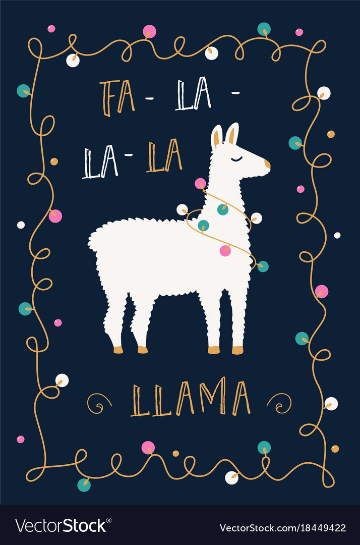 Christmas or winter holidays card with llama and vector image m4hsunfo