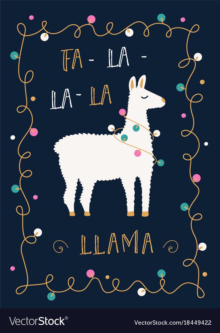 Christmas Llama.Christmas Or Winter Holidays Card With Llama And