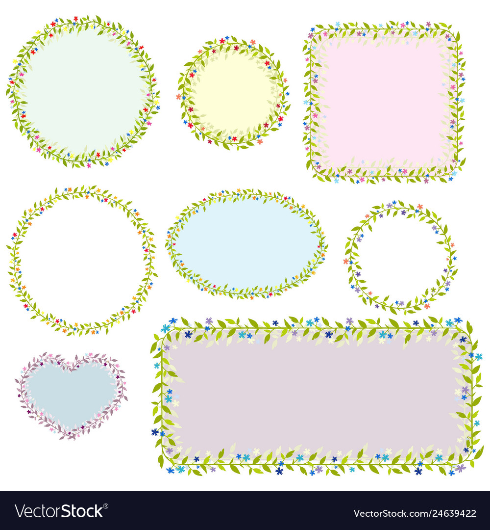 Collection of eight floral frames images