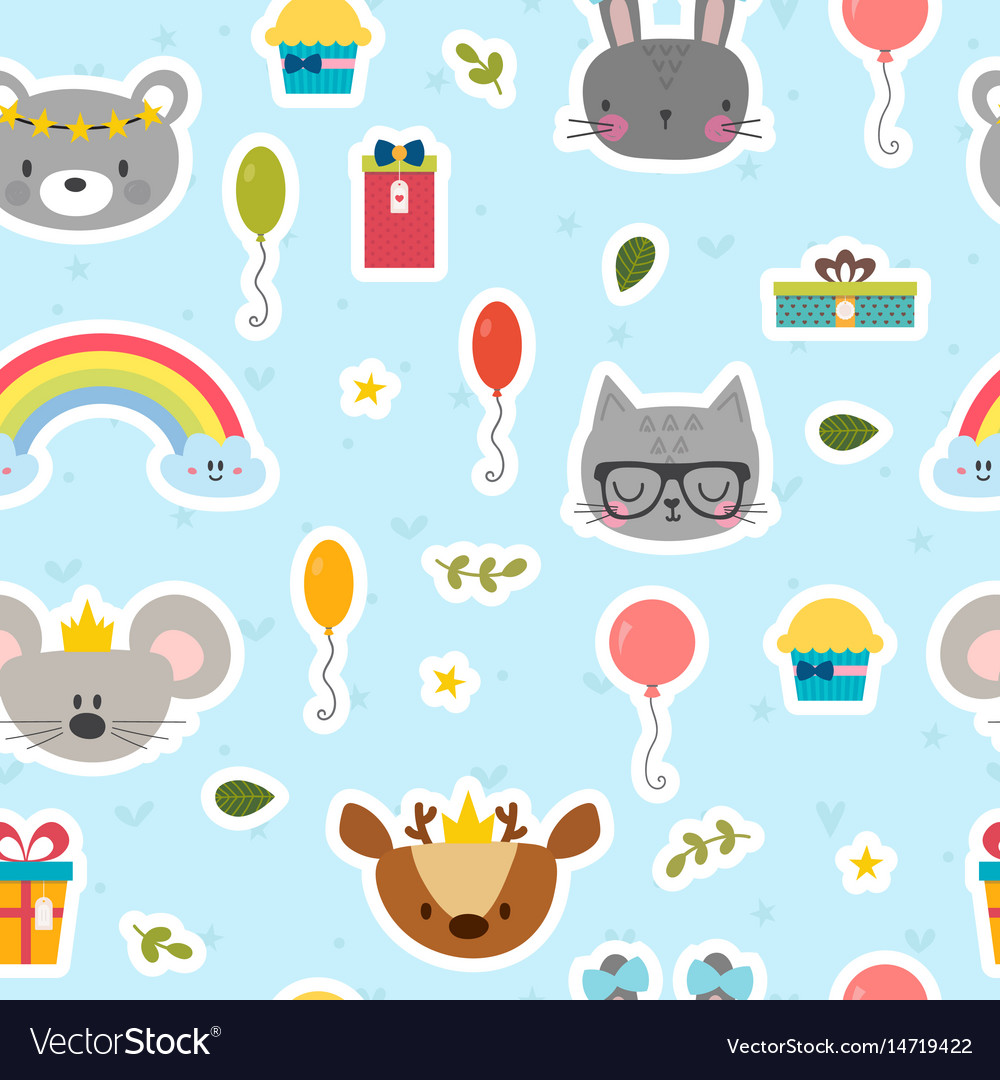 Cute seamless pattern with cartoon animals sweet