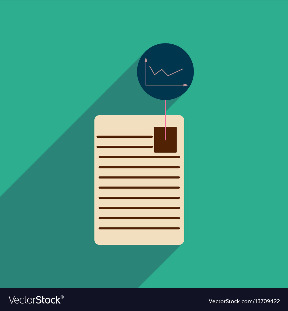 Flat web icon with long shadow economic document