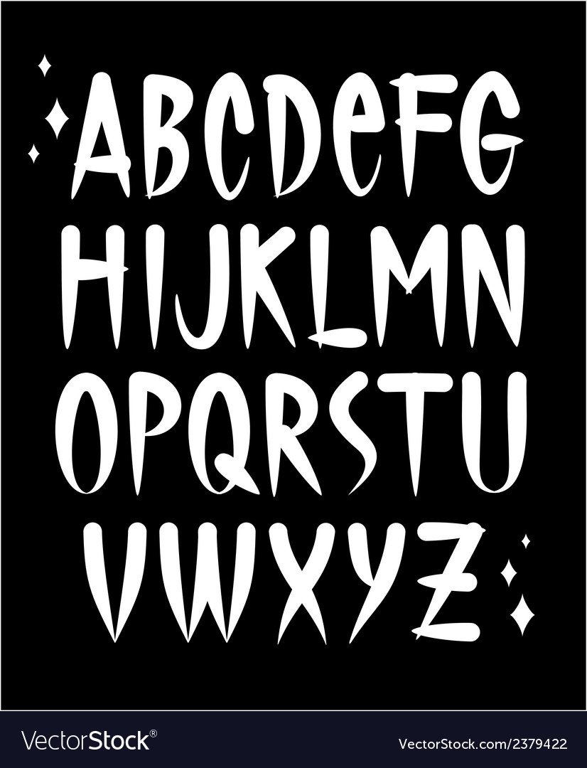 Hand written old school tattoo style font alphabet vector image
