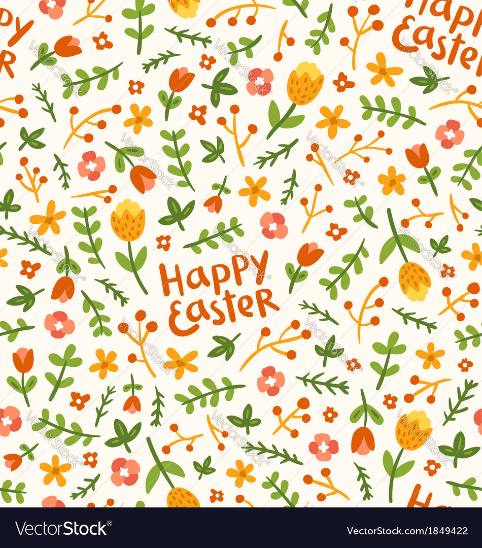 happy easter flower pattern royalty free vector image