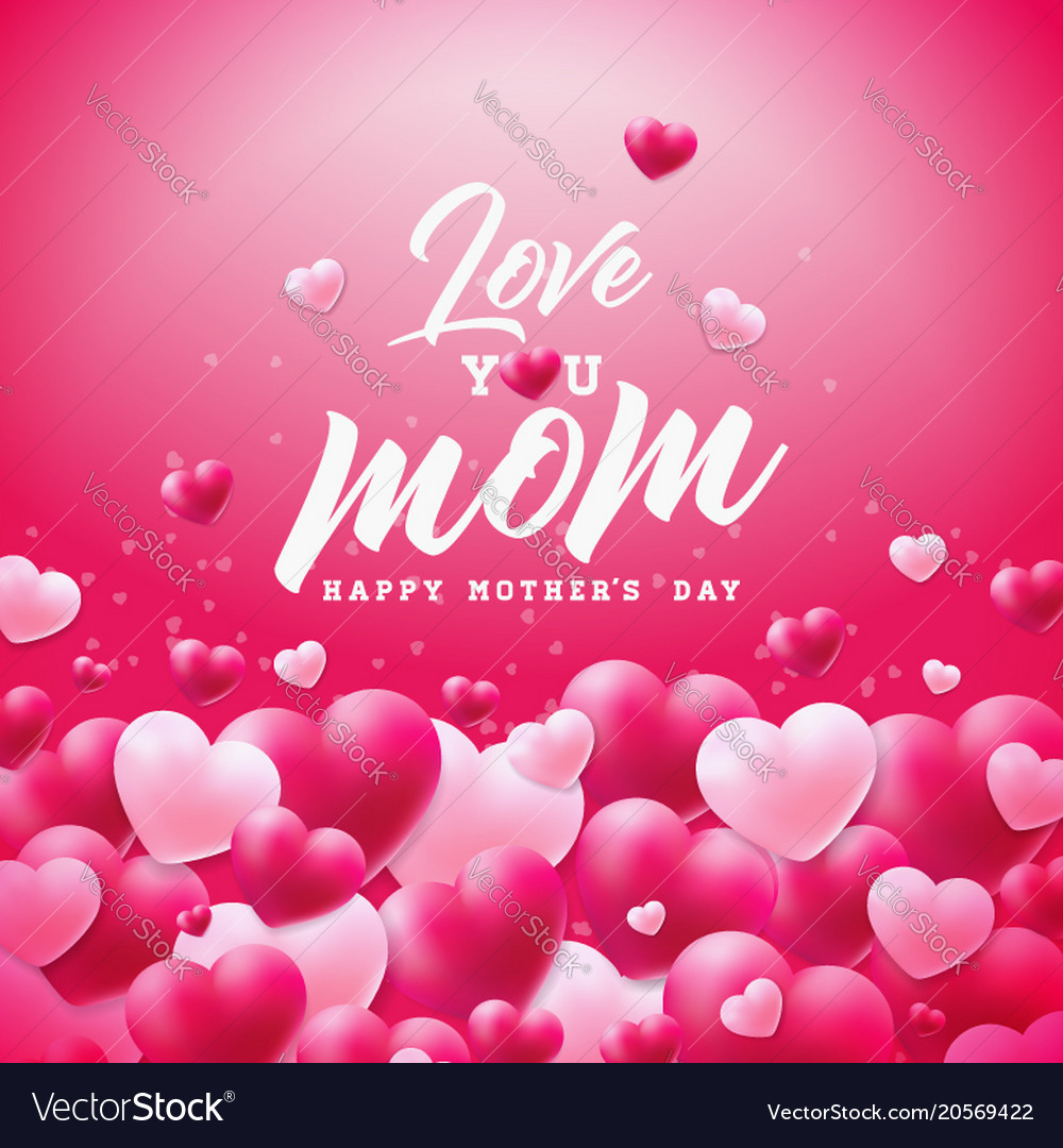 Happy Mothers Day Greeting Card Design With Heart Vector Image