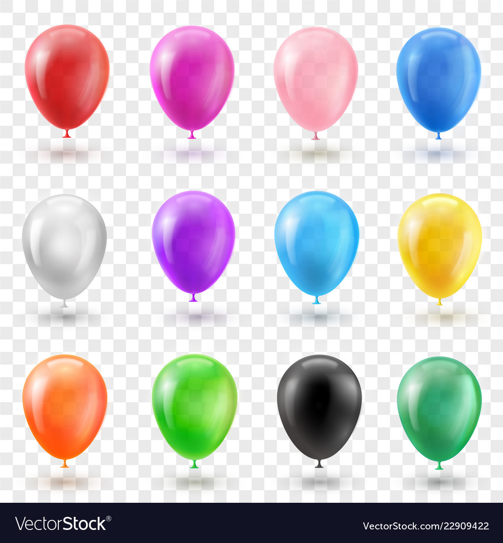 Helium balloon set in different bright colors