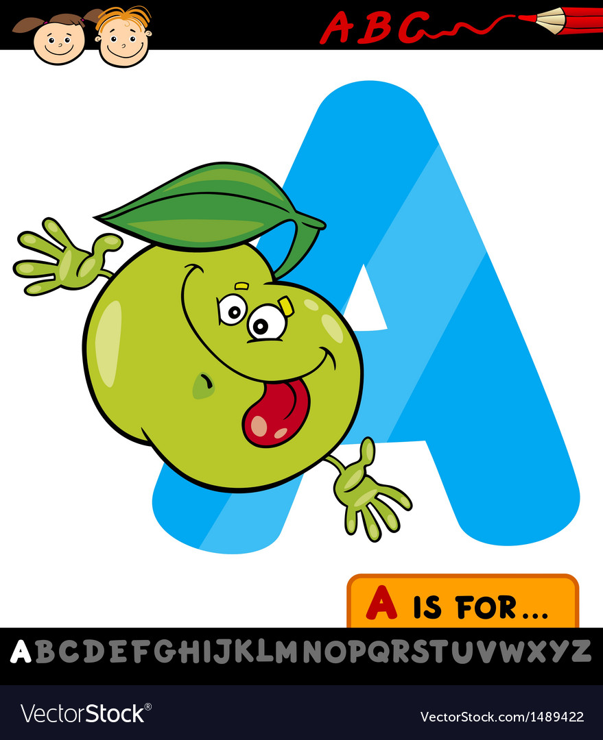 Letter a with apple cartoon