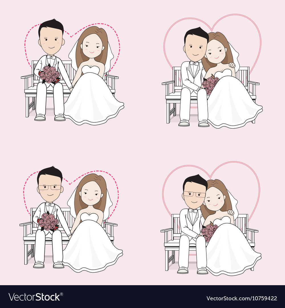 Married cute wedding cartoon vector image