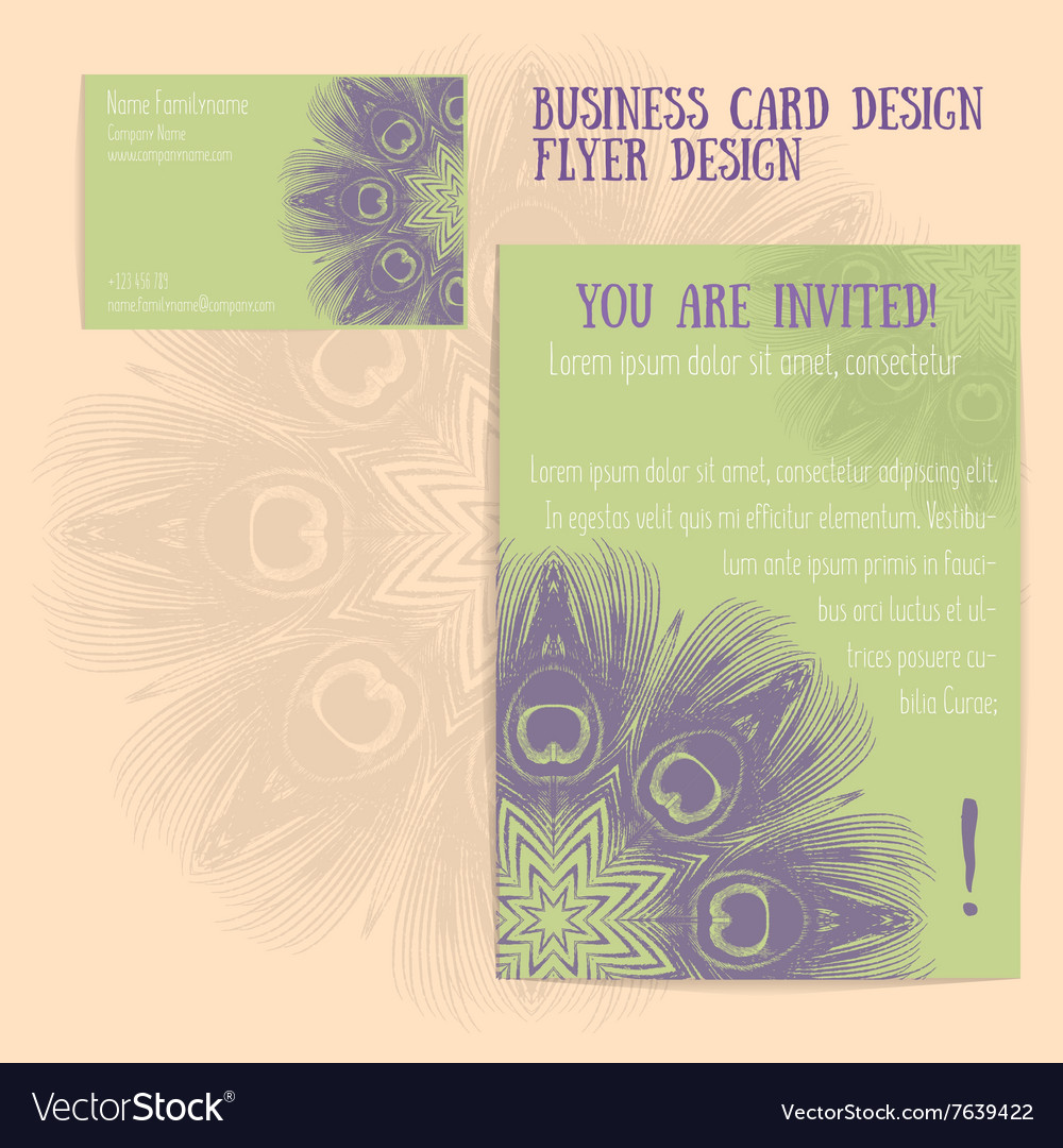Set of flyer and business card vector image