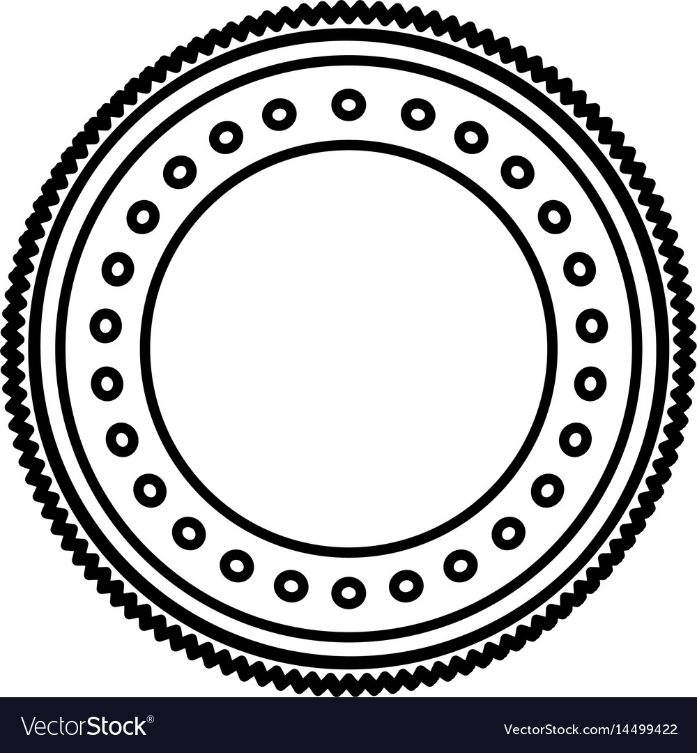 Silhouette Heraldic Circular Shape Stamp With Vector Image