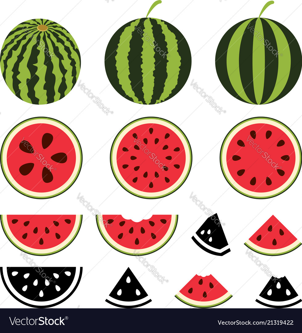 Watermelon icons set