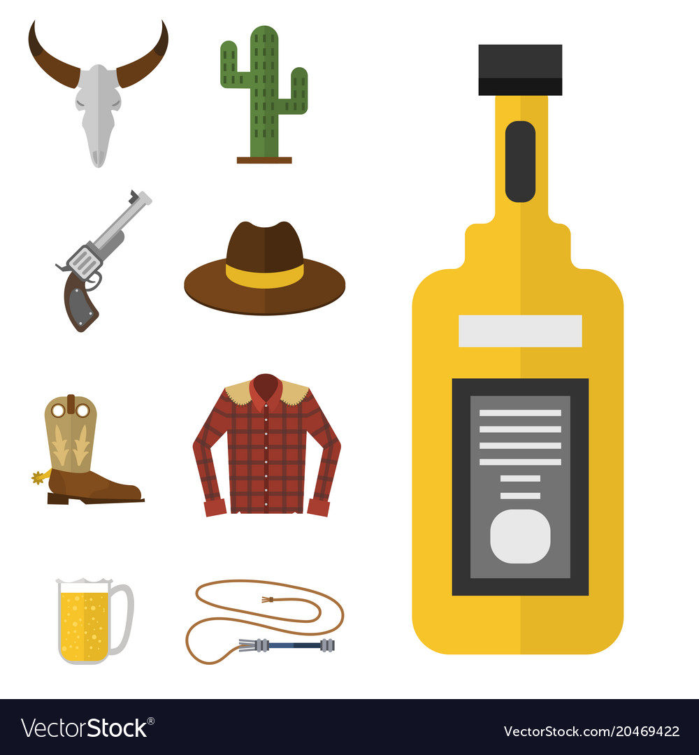 Wild western cowboy icons rodeo equipment