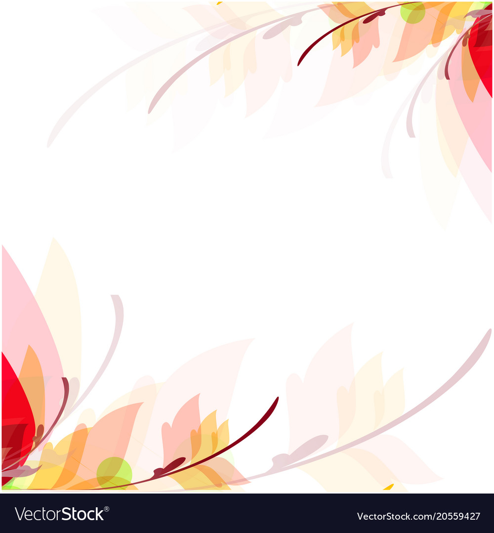 Abstract Colorful Leaves Flowers White Background