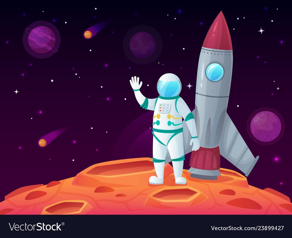 Astronaut in lunar surface rocket spaceship