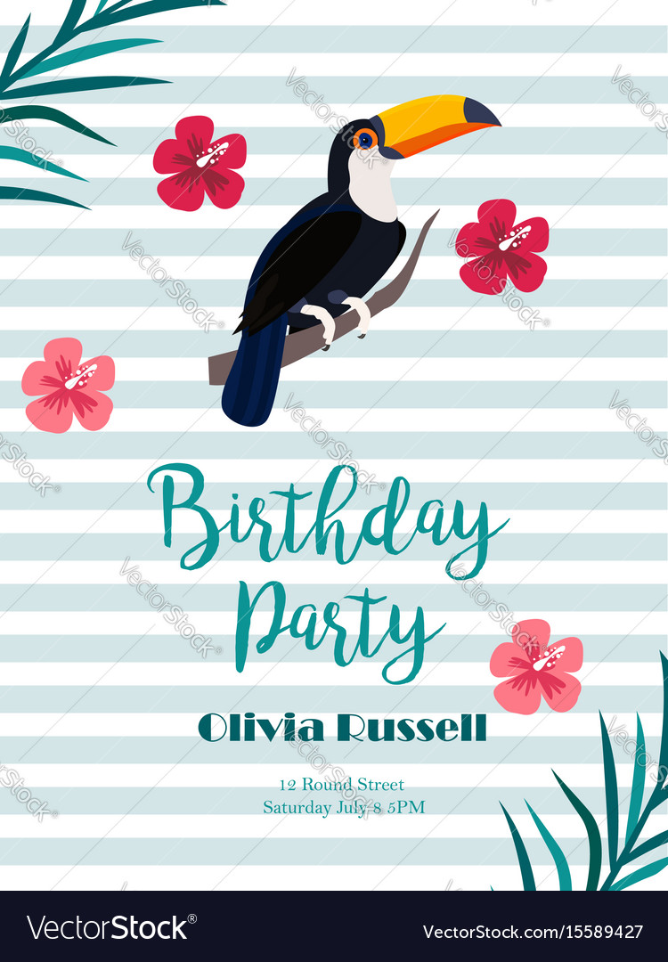 Birthday tropical invitation card with toucan and