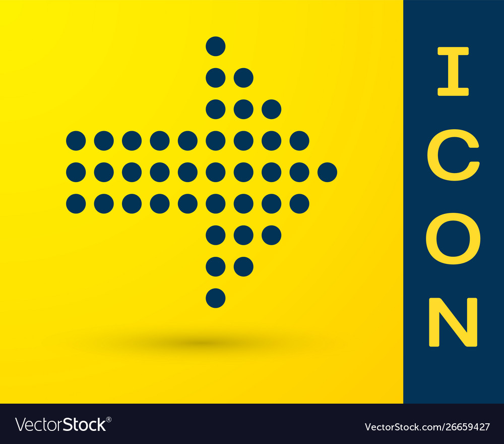 Blue dots arrow icon isolated on yellow background