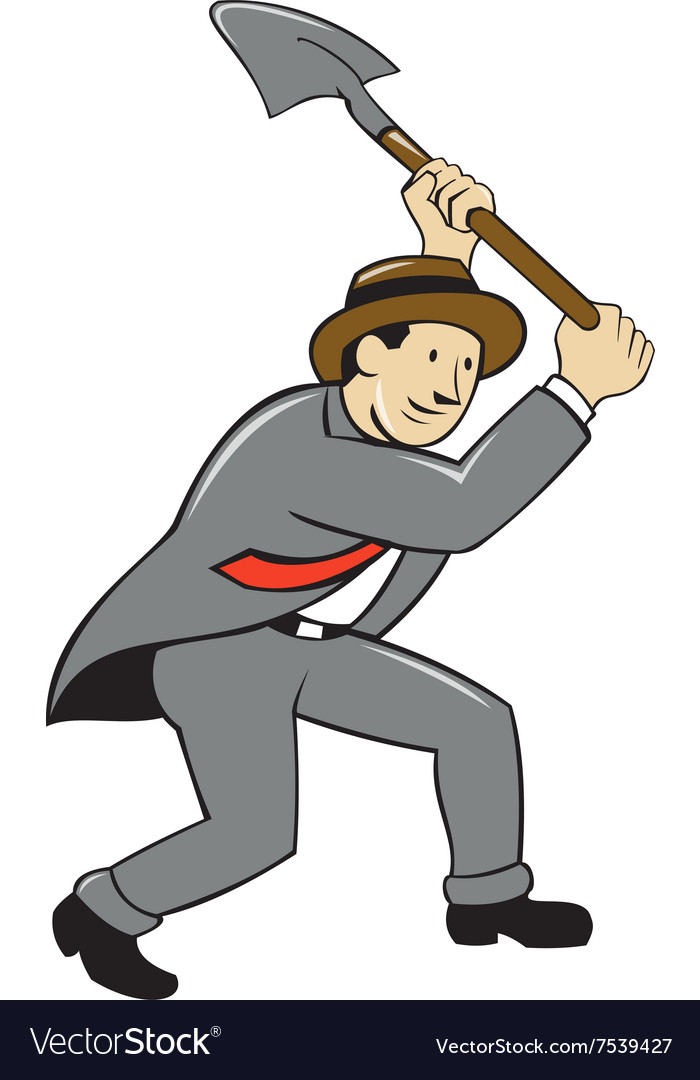 Businessman With Shovel Digging Cartoon