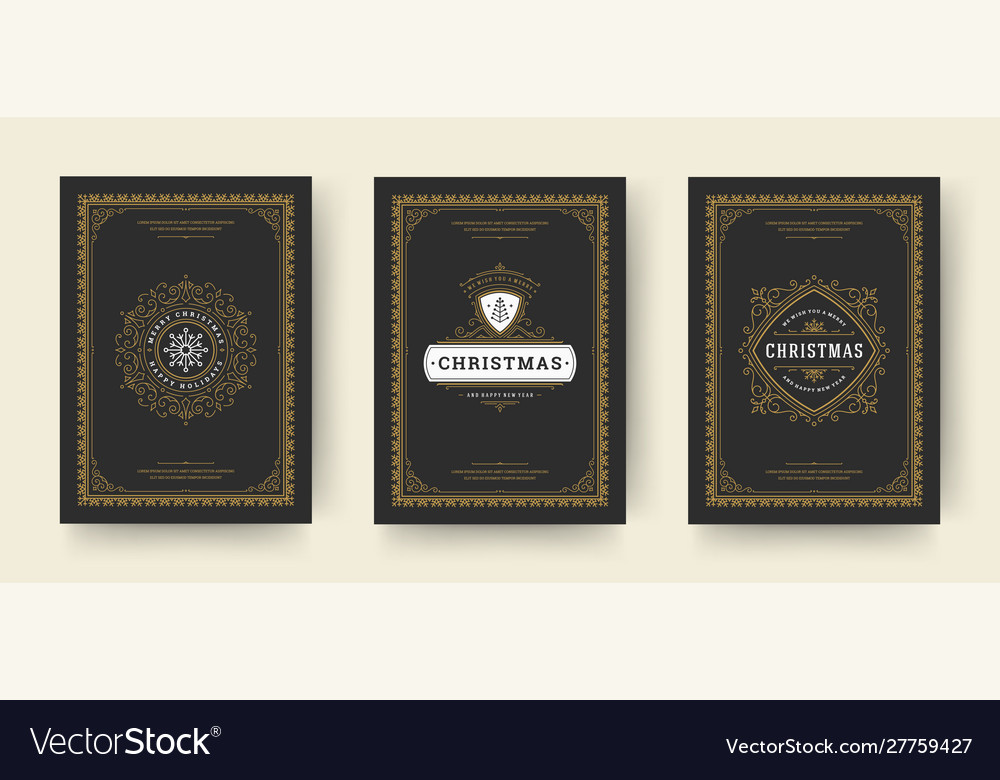 Christmas greeting cards vintage typographic