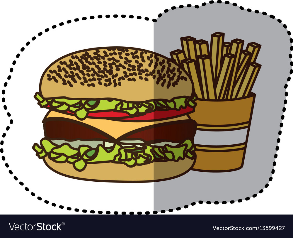 Color hamburger and fries french icon vector image
