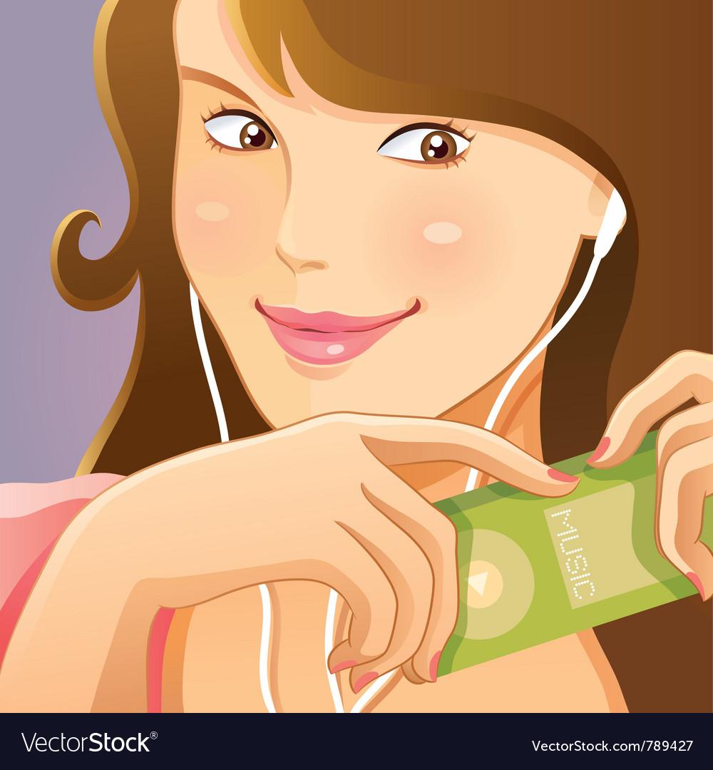 Cute girl listening music vector image