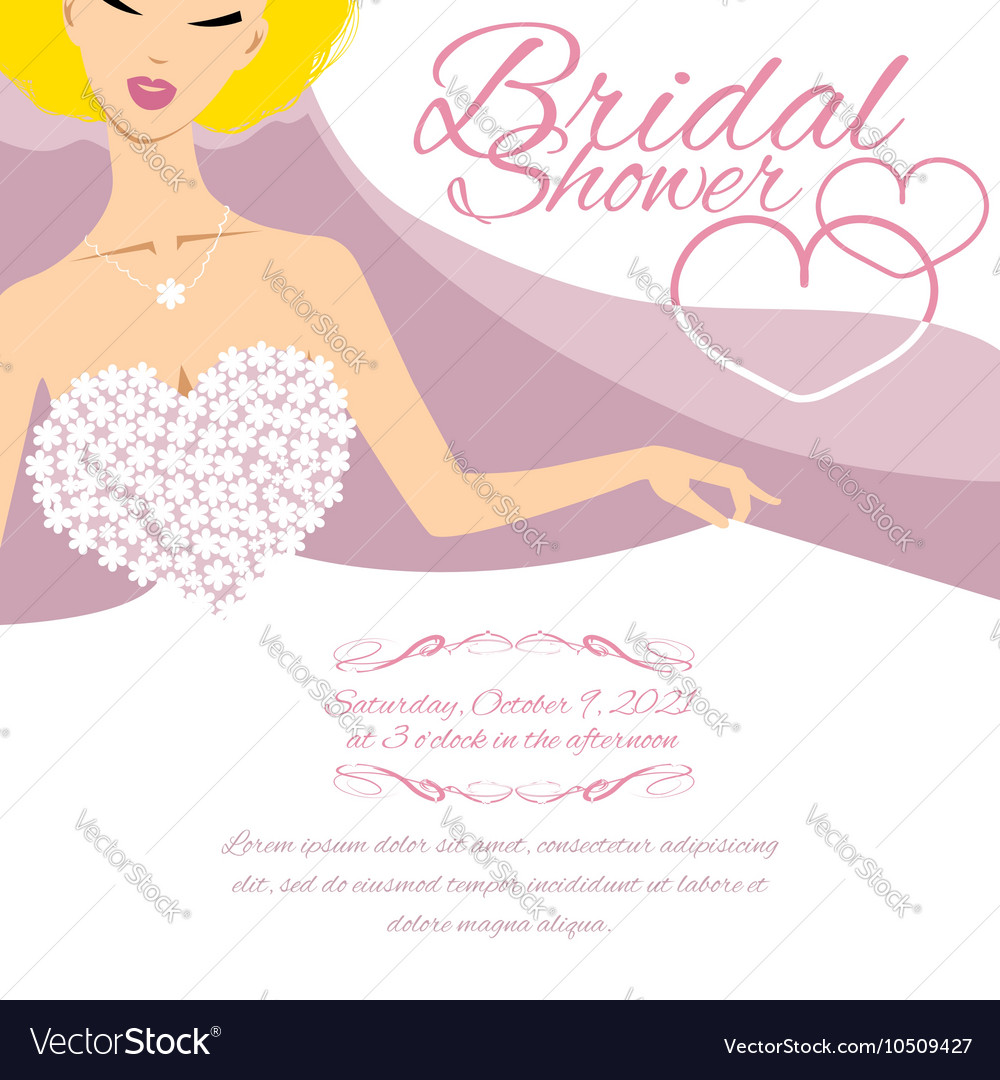 Invitation card with bride and place for text