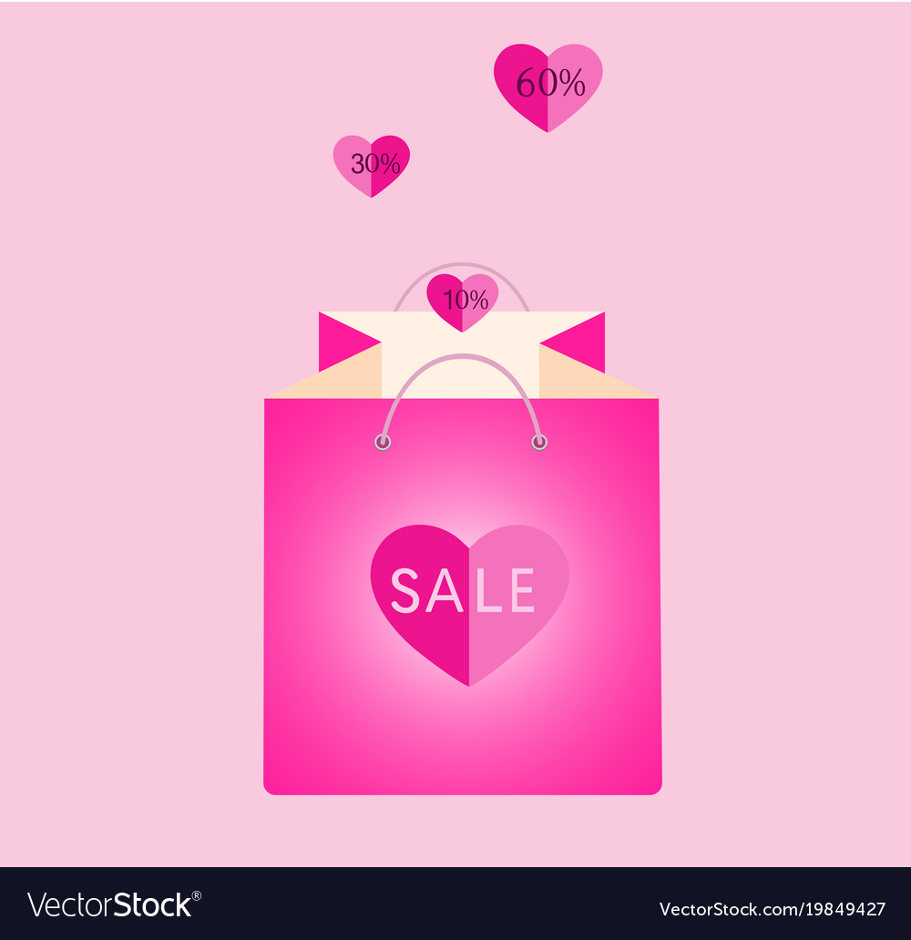Pink shopping bag with flying hearts