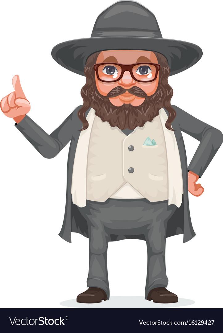 Rabbi payot beard traditional jewish costume hold vector image