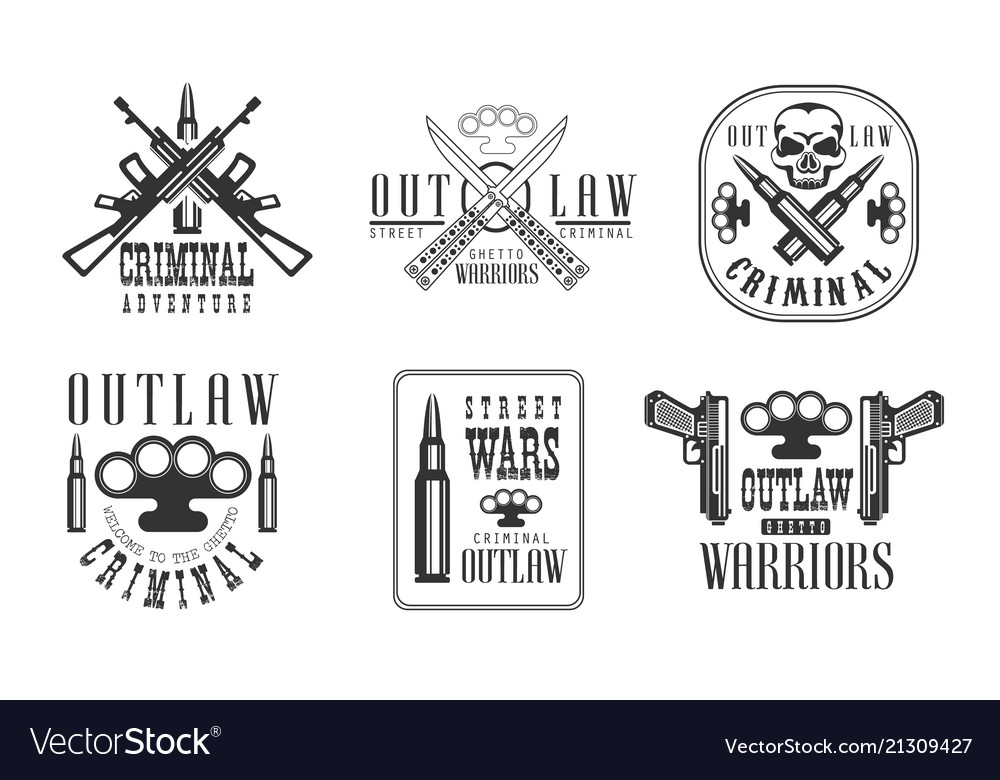 Set of black and white emblems related to
