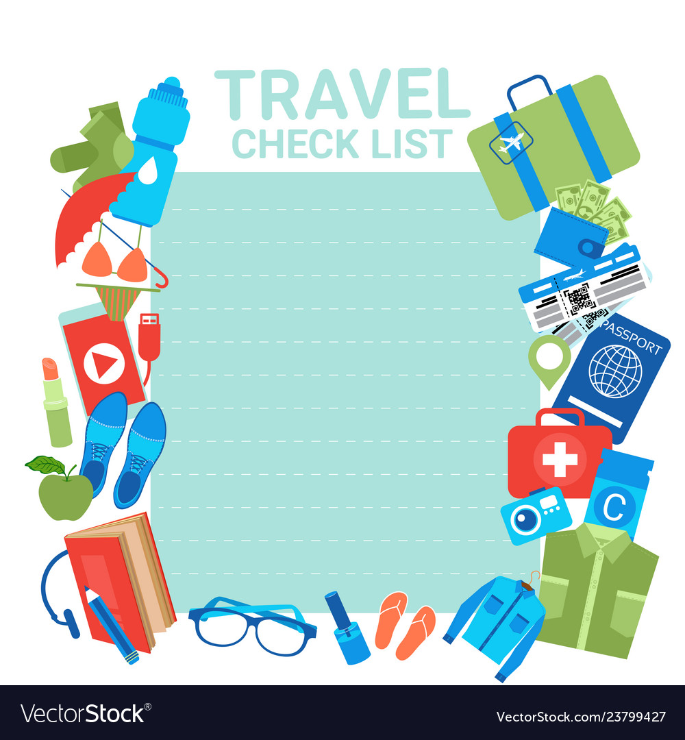 Travel check list template background for