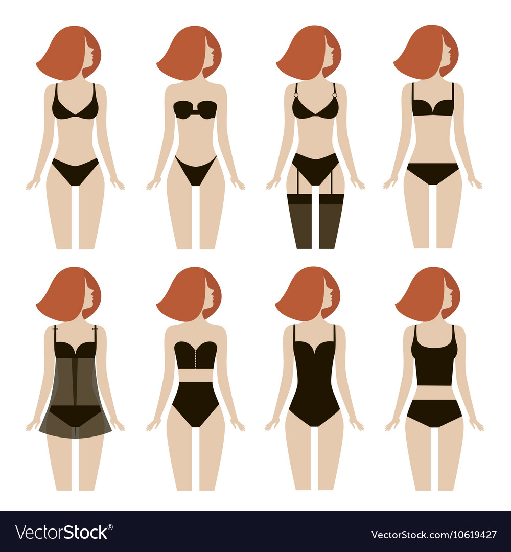 Young woman in different types of lingerie vector image