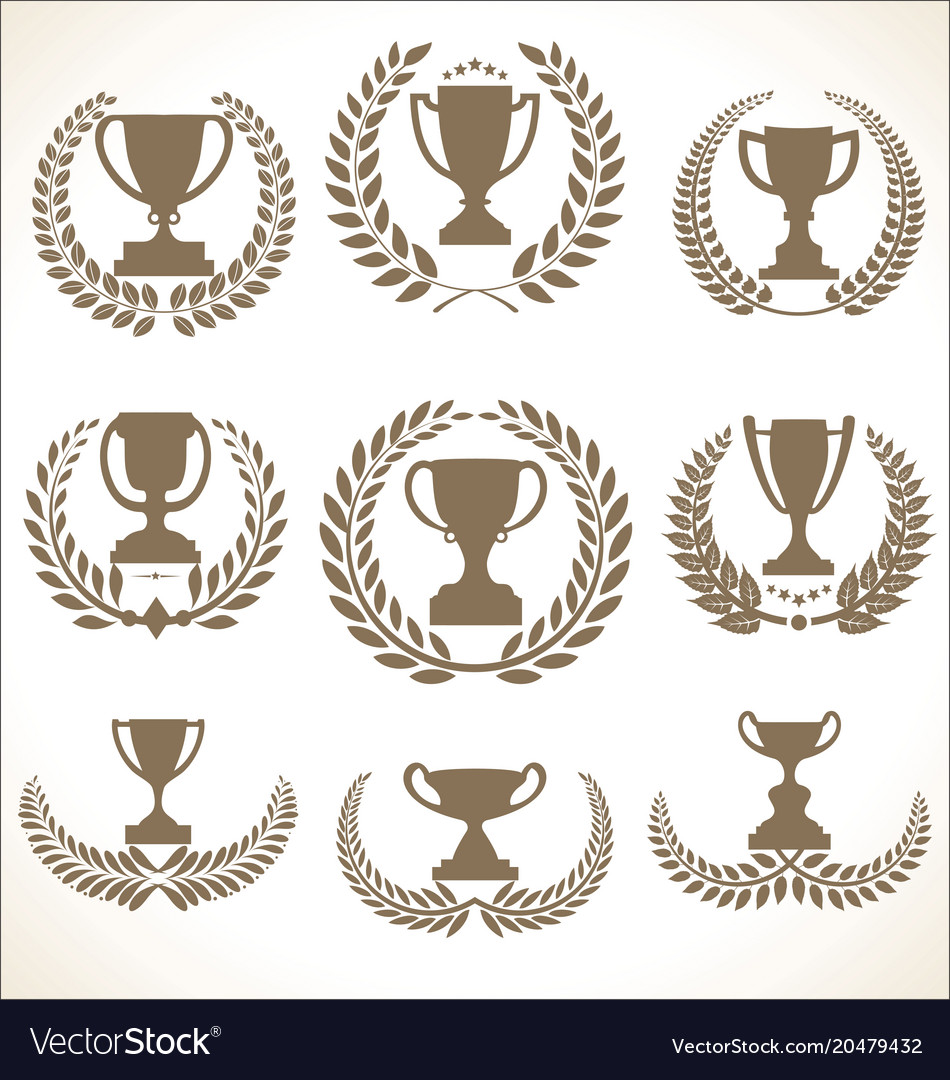 Award cups and trophy icons with laurel wreaths