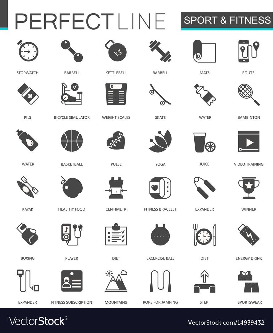 Black classic web sport and fitness icons set