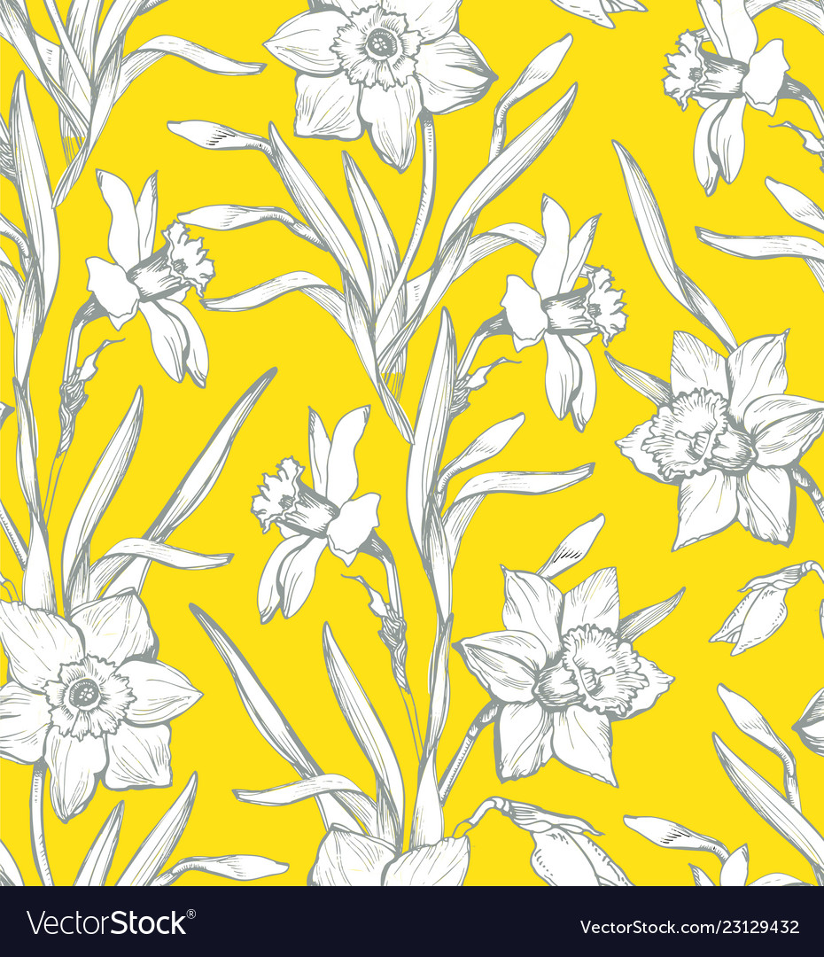 Botanical seamless pattern with silhouette of
