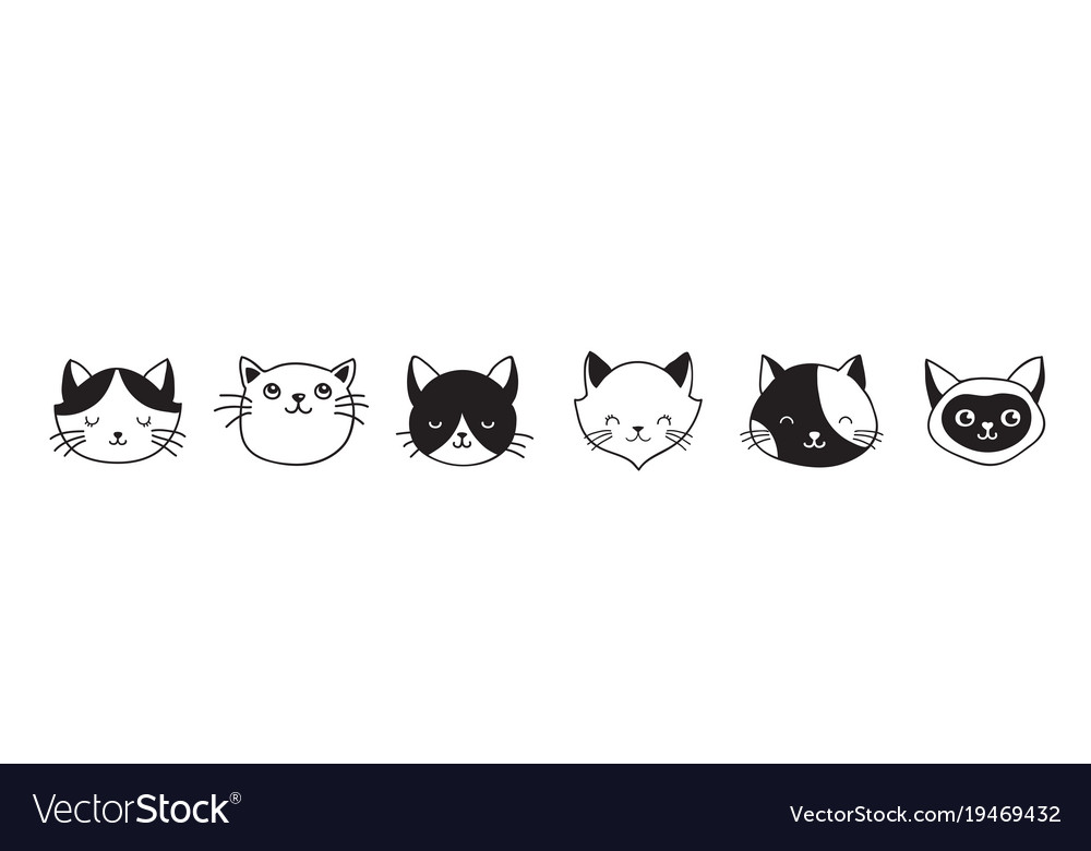 Cats collection of icons vector image