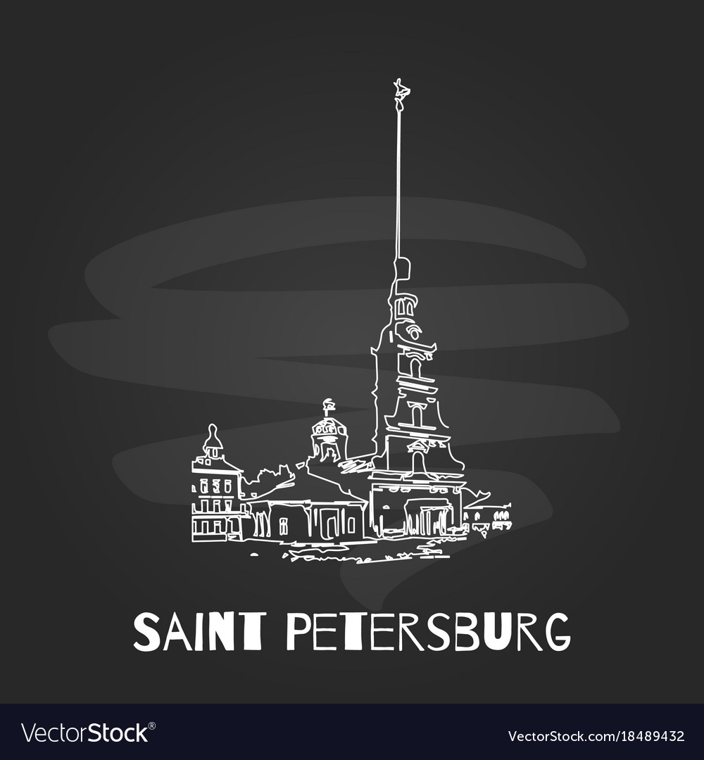 Chalkboard saint petersburg hand drawn poster