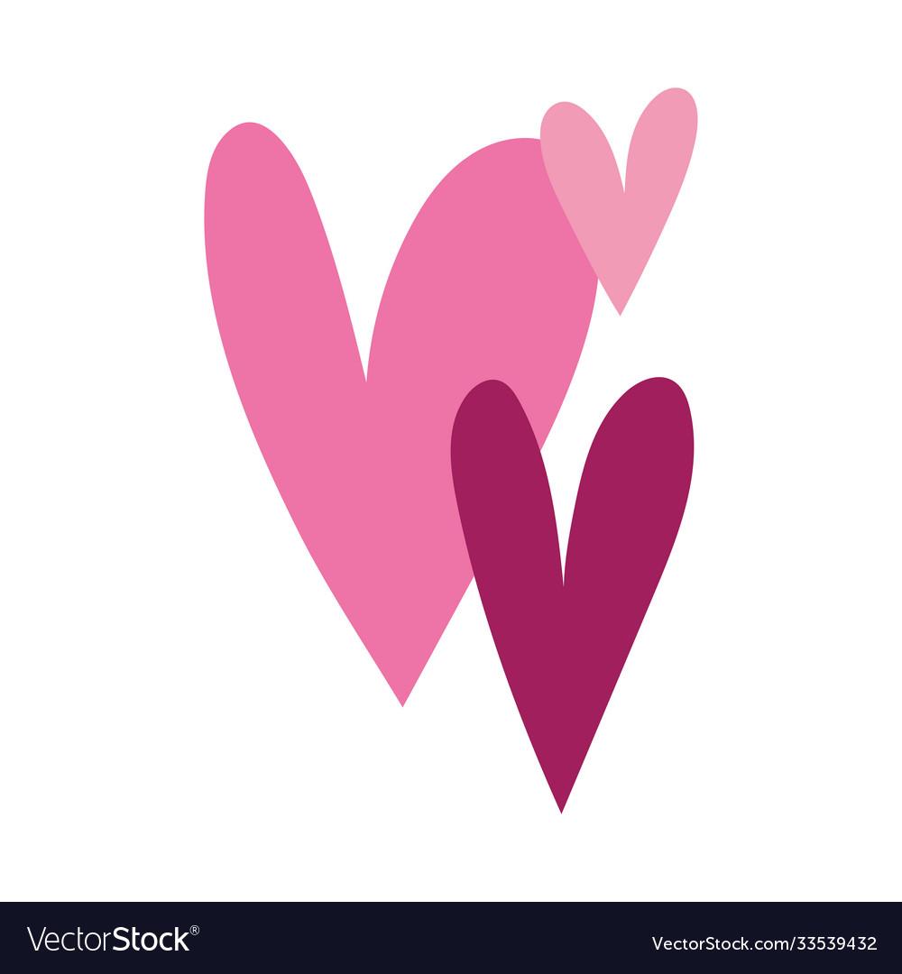 Love romantic hearts ornament isolated icon white