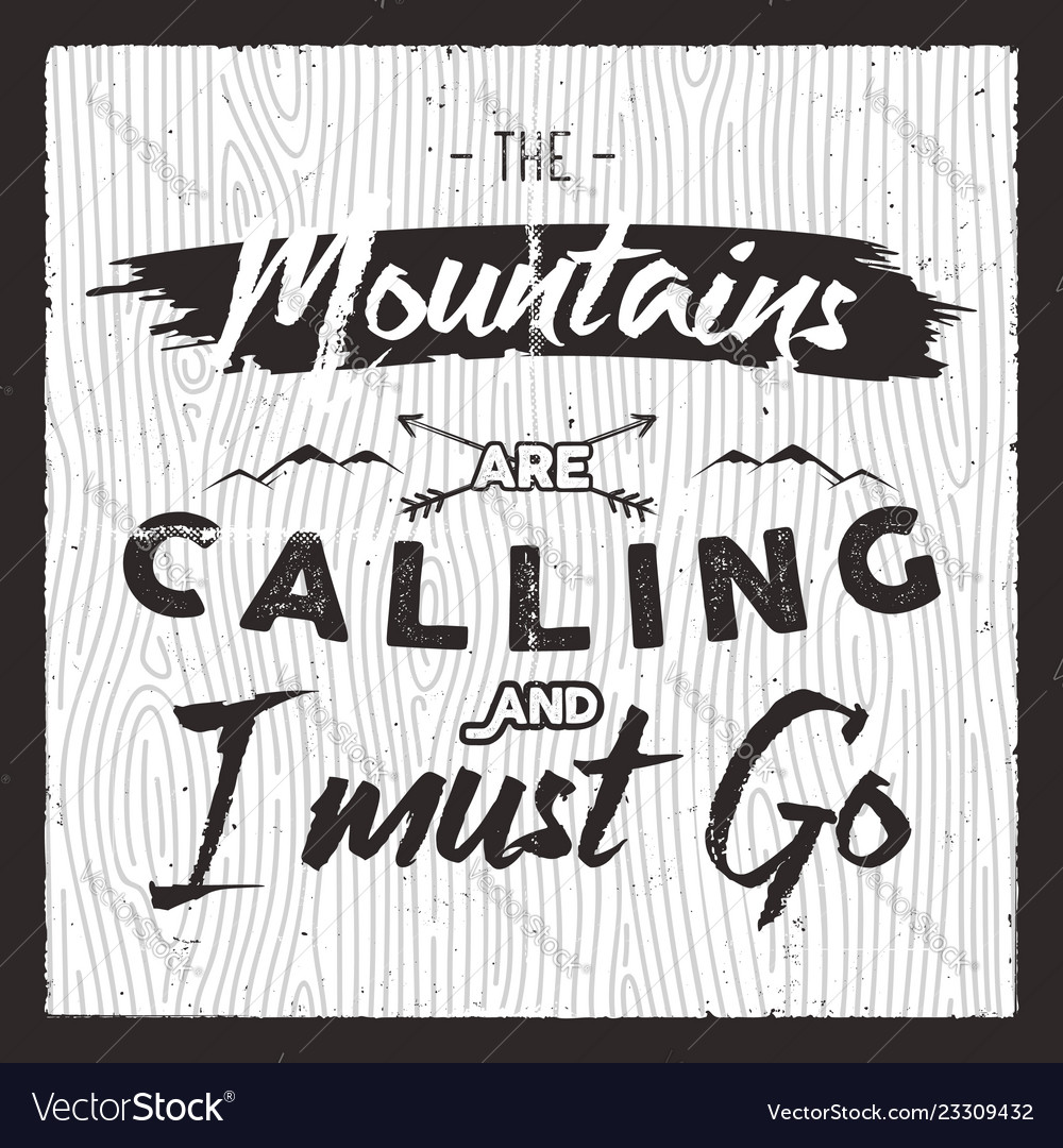 Mountain poster in retro silhouette style with