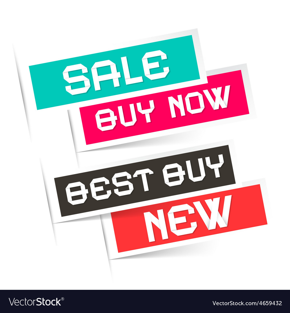 Sale - Buy Now - Best Buy and New Labels vector image