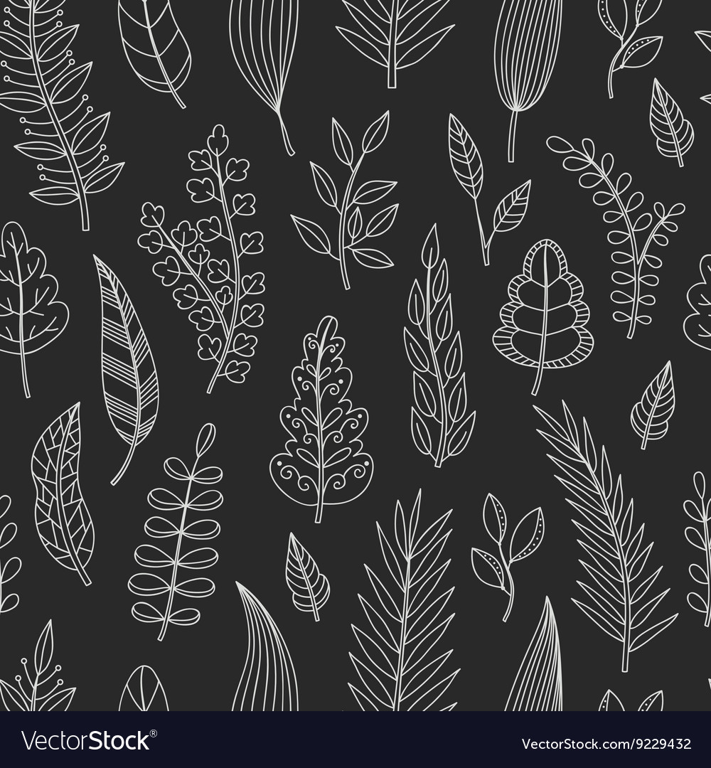 Seamless pattern with chalk leaves